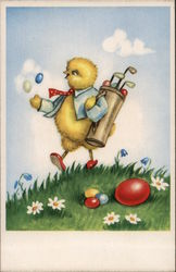 Chick Playing Golf with Easter Eggs