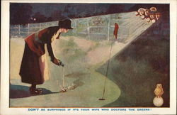 Woman Doctoring Golf Green