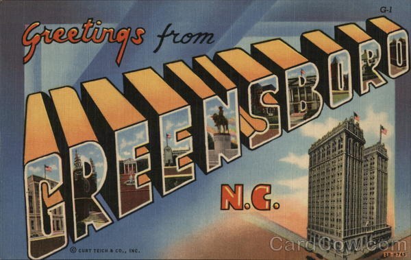 Greetings from Greensboro, N.C. North Carolina Large Letter