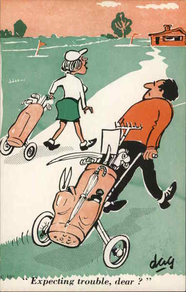 Expecting Trouble, dear? Caricatures Golf
