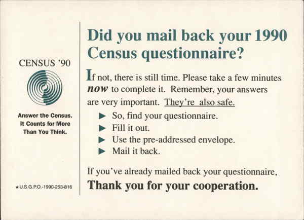 1990 U.S. Census Reminder/Thank You from U. S. Commerce Dept.