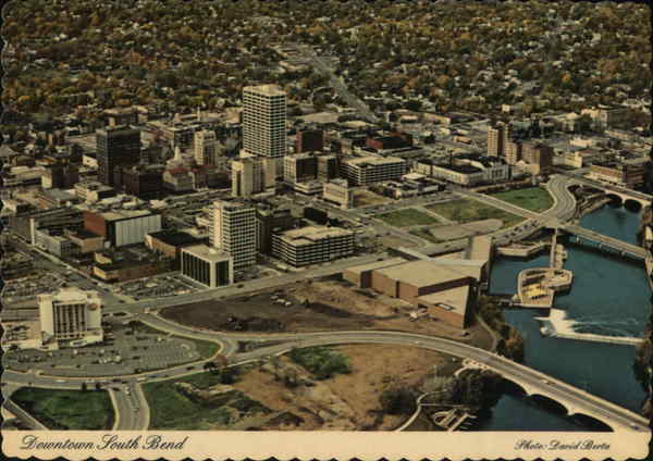 Aerial View of City Downtown South Bend Indiana