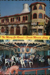 The Merry Go-Round at Santa Monica, Calif. Postcard