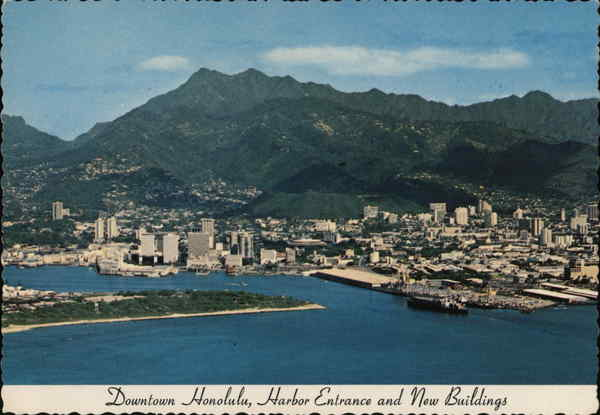 Downtown, Harbor Entrance and New Buildings Honolulu Hawaii