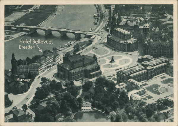 Aerial View showing Hotel Bellevue Dresden Germany