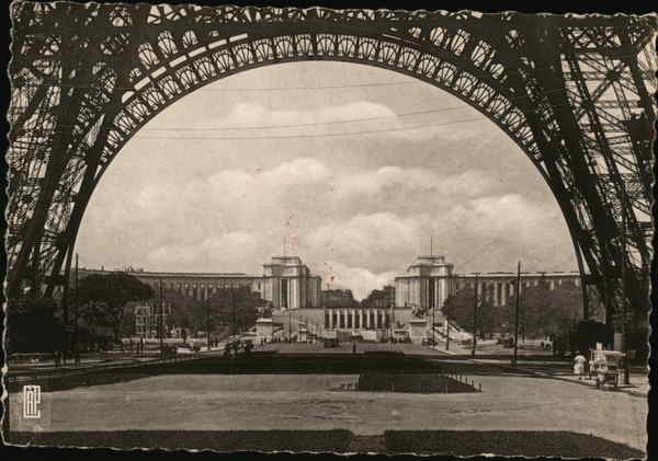Gardens and Palace of Chaillot viewed through Eiffel Tower