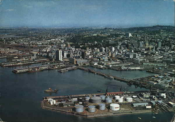 Aerial View of Wharves and City Auckland New Zealand