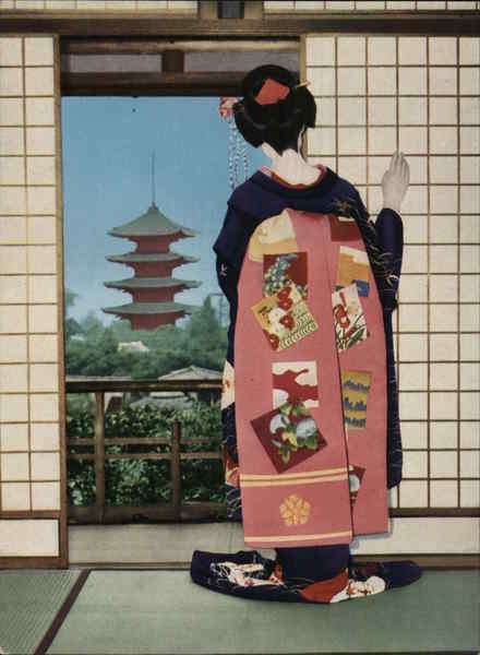 Japanese Woman Looking Outdoors Through Balcony Door