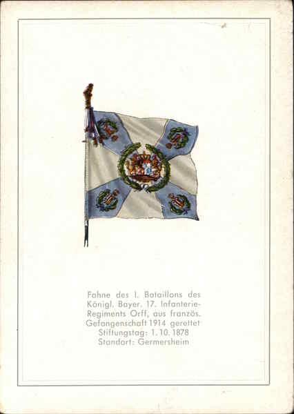 Fahne des 1. Bataillons des Koenigl. Bayer. 17. Infanterie-Regiments Orff
