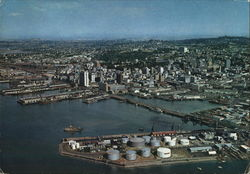 Aerial View of Wharves and City