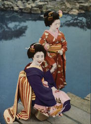 Two Geishas on a Dock by a Pond