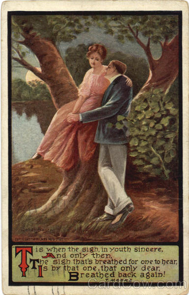 Couple in a Tree, Moonlight, T. Moore Poem Romance & Love