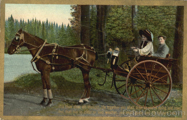 Couple in Horse Buggy Romance & Love Horses