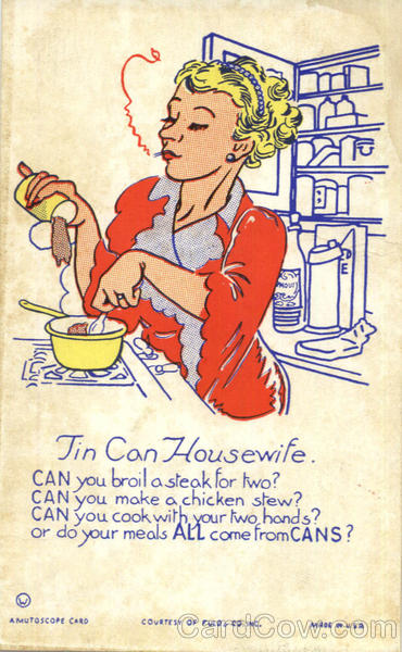 Tin Can Housewife Comic, Funny Cooking