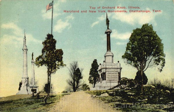 Top of Orchard Knob, Maryland and New York Monuments Chattanooga Tennessee