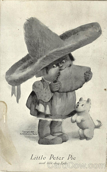 Little Peter Pie and his dog Fido 1907 Comic, Funny