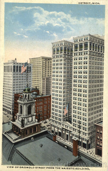 View of Griswold Street from the Majestic Building Detroit Michigan