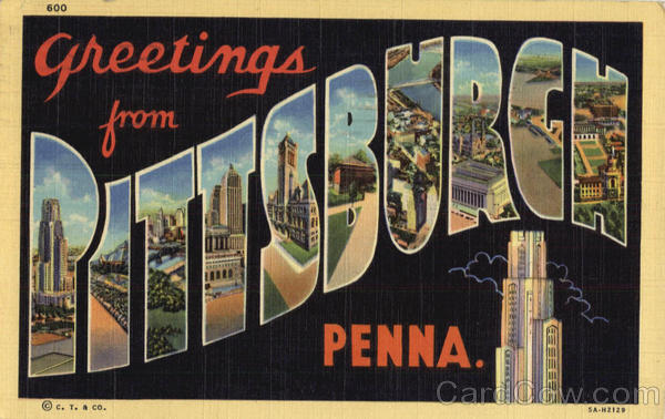 Greetings from Pittsburgh Pennsylvania Large Letter
