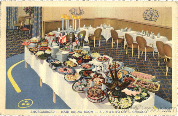 Smorgasbord Main Dining Room Kungsholm Chicago Il