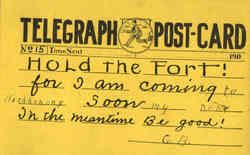 Telegraph Post Card - Hold The Fort!