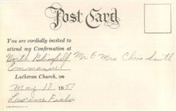 1953 Confirmation Post Card