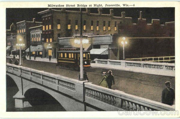 Milwaukee Street Bridge At Night Janesville Wisconsin