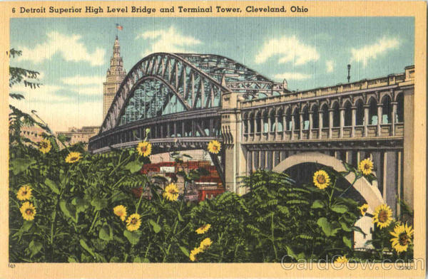 Detroit Superior High Level Bridge And Terminal Tower Cleveland Ohio