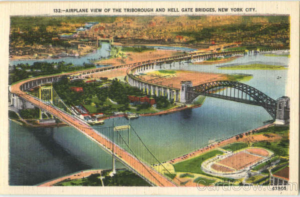 Airplane View Of The Triborough And Hell Gate Bridges New York