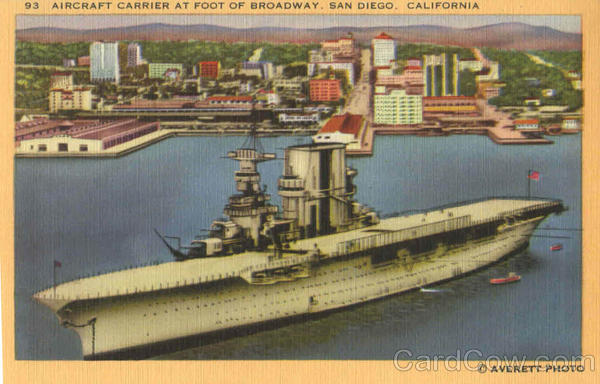 Aircraft Carrier At Foot Of Broadway San Diego California