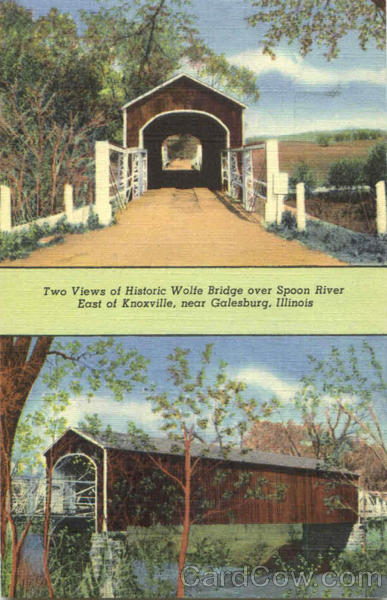 Two Views Of Historic Wolfe Bridge Galesburg Illinois