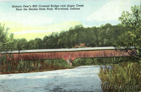 Historic Deer's Mill Covered Bridge Over Sugar Creek, Shades State Park Waveland Indiana