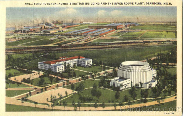 Ford Rotunda Administration Building And The River Rough Plant Dearborn Michigan