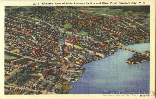 Airplane View Of Main Business Section And River Front Elizabeth City North Carolina