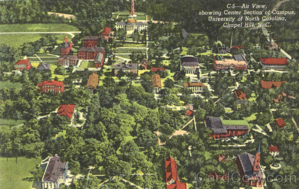 Air View Showing Center Section Of Campus, University Of North Carolina Chapel Hill