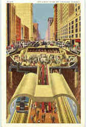 Cut-Away View Of Chicago Subway In The Central Business District