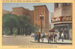 A Glimpse Of Pershing Square And The Biltmore Hotel, Fifth And Hill Streets