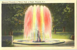 Memorial Fountain In Wilcox Park At Night