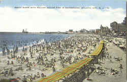 Beach Scene With Million Dollar Pier In Background Postcard