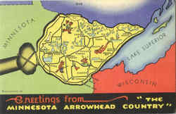 Greetings From The Minnesota Arrowhead Country Postcard