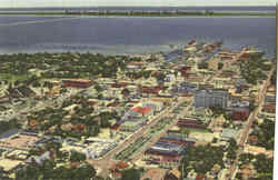 Aerial View Of Business District And Bay