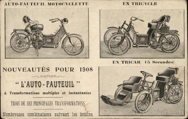 1908 Auto-Fauteuil Advertising France Motorcycles Cars