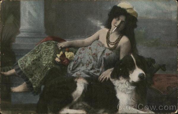 Woman Smoking Posing With Dog Women