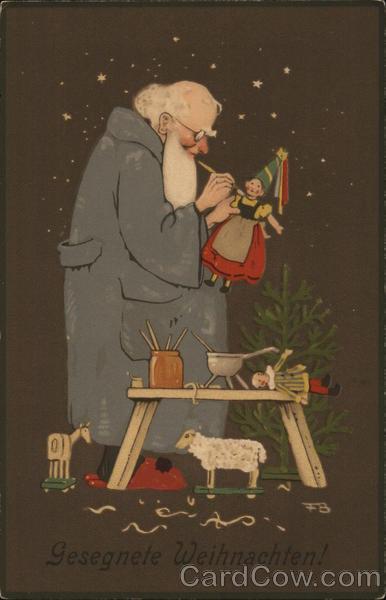 german santa making toys gesegnete weihnachten santa. Black Bedroom Furniture Sets. Home Design Ideas