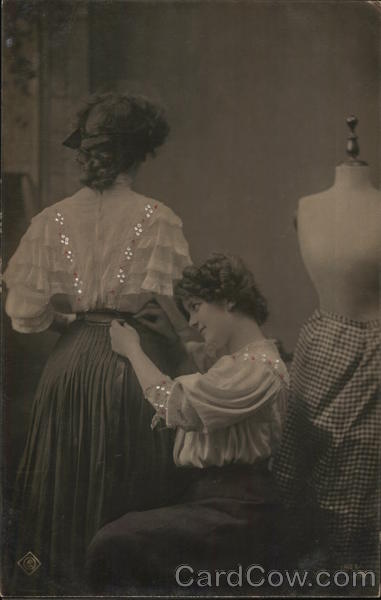A Woman Having Alterations Done to her Dress Sewing
