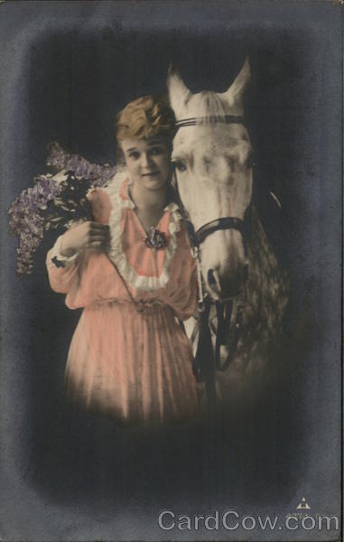 A Woman with A White Horse Horses