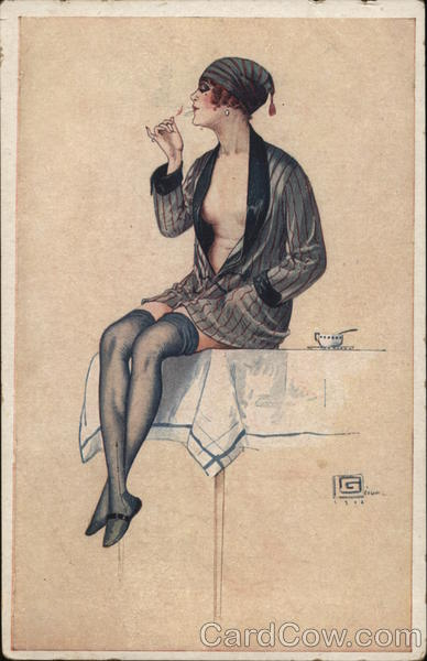 Art Deco Woman in Robe Smoking G. Leonnec Artist Signed