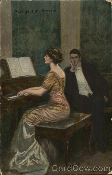 Man Watching Woman Playing Piano Clarence F. Underwood
