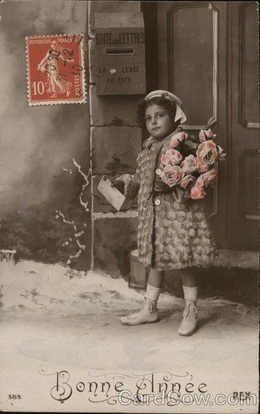 Girl Carrying Roses Mailing Letter Children
