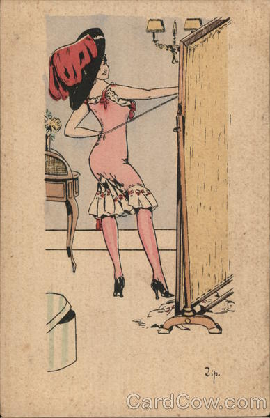 Art Deco Shapely Woman in Slip Wearing Large Hat Behind Partition