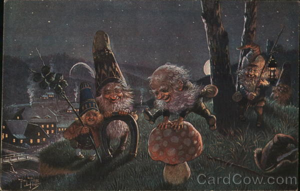 Rare Gnomes Hopping Mushrooms at Night Arthur Thiele